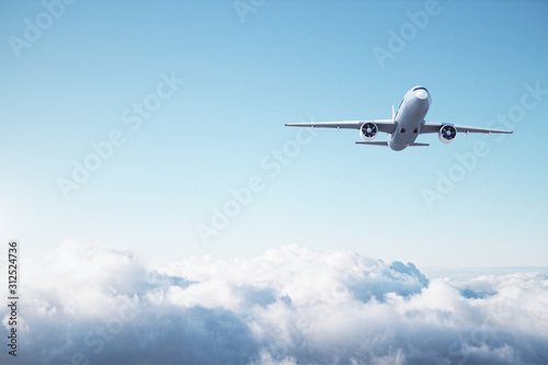 Photo Passenger airplane flying in the blue sky