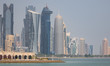 Doha, Qatar - probably the most notable landmark in Doha, the Corniche is a waterfront promenade extending for seven kilometers along Doha Bay. Here in particular its skyline