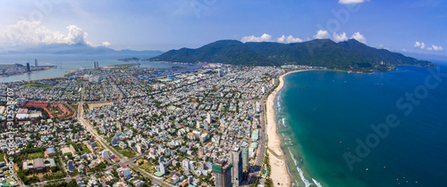 Aerial view of Da Nang beach which has many hotels and resorts. Wallpaper Mural