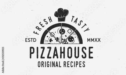 Fotografía Pizza cook logo with pizza slice and chef cap