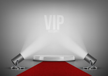 Round Stage Podium With Red Carpet And Spotlights