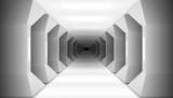Fototapeta Fototapety przestrzenne i panoramiczne - 3D Futuristic White Columns Corridor Of Spaceship