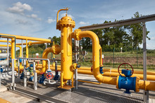 Gas Industry, Gas Transport System. Gas Pipeline. Gas Pipes, Stop Valves And Appliances For Gas Pumping Station