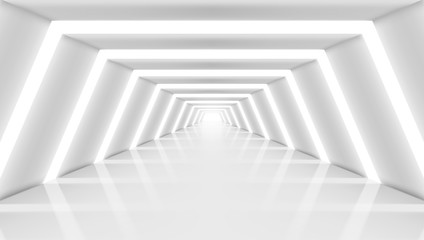 3D Abstract Future Long Corridor Light Interior