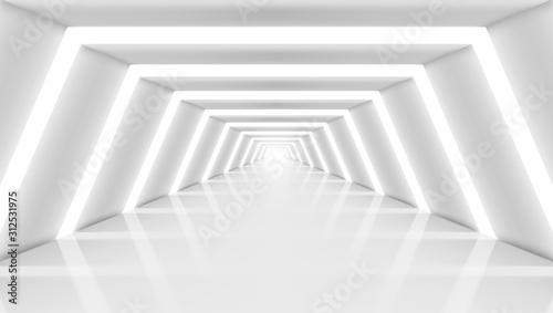 Fotografie, Obraz 3D Abstract Future Long Corridor Light Interior