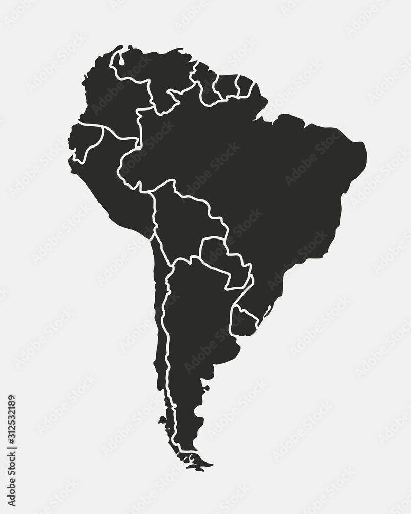 Fototapeta South America map isolated on a white background. Latin America background. Map of South America with regions. Vector illustration