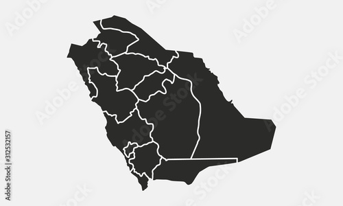 Saudi Arabia map isolated on a white background Wallpaper Mural