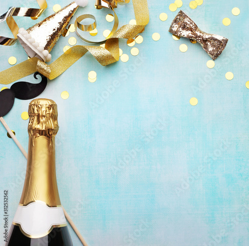 Obraz Party time accessories, happy new year. copy space for text - fototapety do salonu