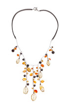 Necklace With Citrine, Cornelian Gems Abd Pearls