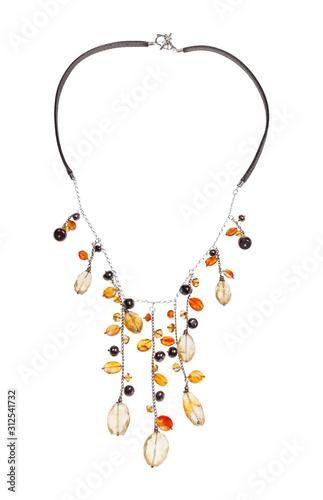 Valokuva necklace with citrine, cornelian gems abd pearls