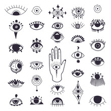 Evil Eyes Symbol Set. Free Han...
