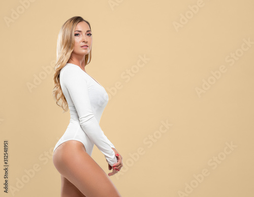 Fit and sexy young woman posing in white underwear Canvas Print