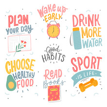Set Of Good Habits Typographic...