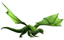 Its Wings Spread, A Green Dragon, A Beast Of Myth And Legend, Glares At You Menacingly. Shown In Profile. 3D Rendering
