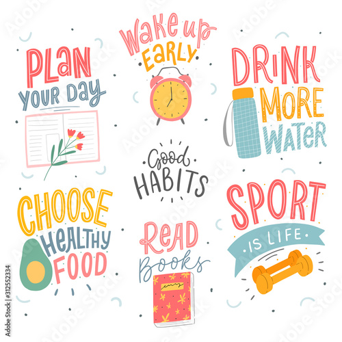 Carta da parati Set of good habits typographic phrases for stickers, card, poster
