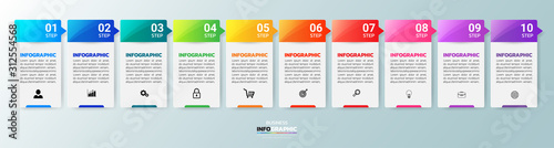Fotografia  Infographics design template, 3D Business concept with 10 steps or options, can be used for workflow layout, diagram, annual report, web design