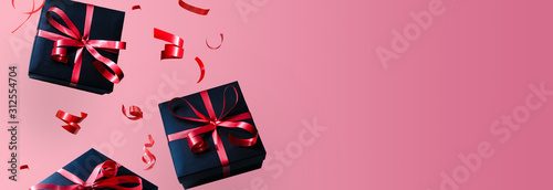 Black gift box with red ribbon and bow, over red background.