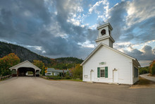 Small White Church Building An...