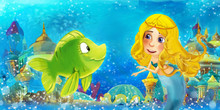 Cartoon Ocean And The Mermaid Princess In Underwater Kingdom Swimming And Having Fun With Fishes - Illustration For Children