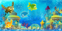 Cartoon Ocean And Funny Fishes Swimming And Having Fun In Underwater Kingdom - Illustration For Children
