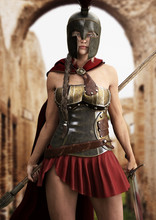 Heroic Spartan Female Stands R...