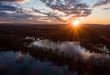 canvas print picture - Sonnenuntergang über den Ricklinger Kiesteichen