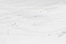 Snowball Tracks In The Snow