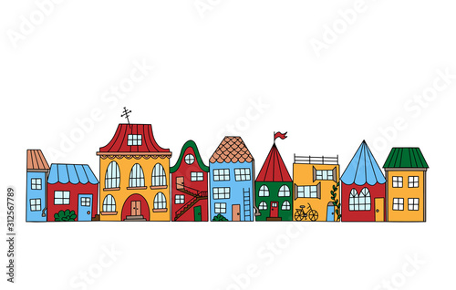 Color vector illustration. Set of houses in doodle style. Street with simple cute little houses. Illustration for children. Can use for coloring book. Object is hand-drawn and isolated on white