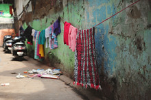 Laundry Hanging In A Back Street In Delhi, India
