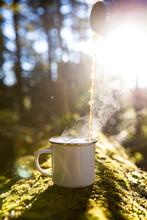 Blank White Enamel Mug With Te...