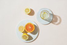 A Glass Of Water And Citrus Fr...
