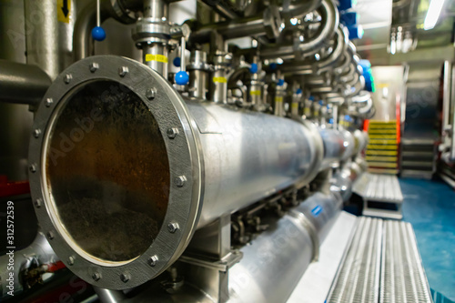 Photo serving vessels monitoring window and bright beer tanks piping system control an