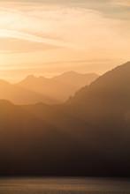 A Sunset Over Smoke Layered Mo...
