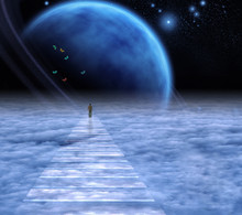 Soul Path. Man On A Sky Road
