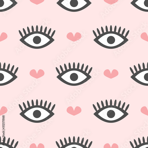 Fototapeta Cute seamless pattern with repeating eyes and hearts