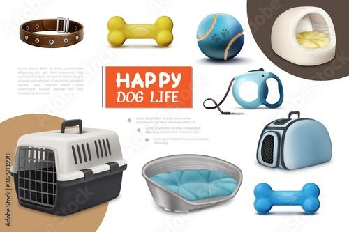 Obraz Realistic Dog Items Composition - fototapety do salonu