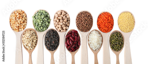 Different types of legumes and cereals on white background, top view Wallpaper Mural