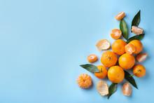 Fresh Ripe Tangerines On Light...