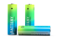 Three Rechargeable Finger-type Batteries. Isolated On White.3d Rendering.