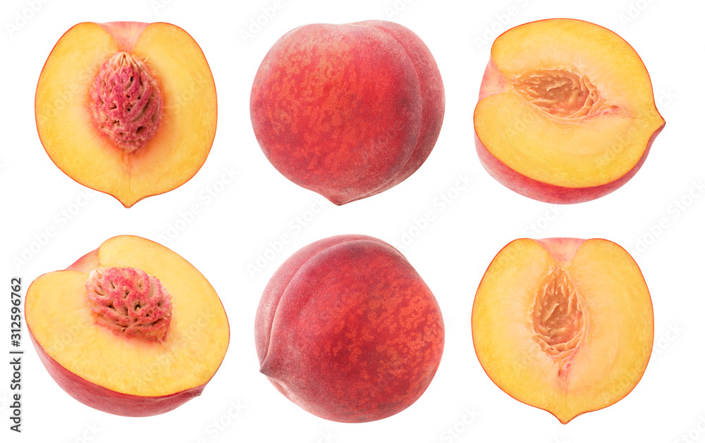 Fototapeta isolated peaches. Collection of whole and cut in halves peach fruits isolated on white background with clipping path