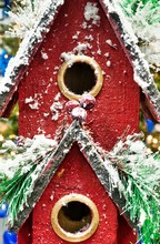 Toy Red Birdhouse Close Up Wit...