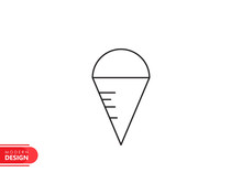 Sweet Ice Cream Line Icon With Modern Design, Isolated On White Background. Flat Style For Graphic Design Template. Suitable For Logo, Web, UI, Mobile App. Vector Illustration