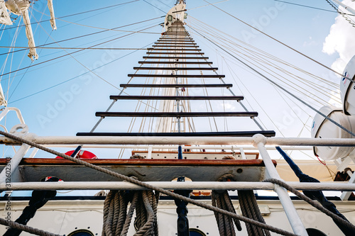 Fotografie, Tablou  Rope ladders on a sailboat.