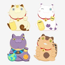 4 Animation Cartoon Cat Collection  In Lucky Cat Pose The Pokemon Is Meowth Or Nyarth The Digimon Is  Tailmon Or Gatomon The Dragonball Is  Beerus The My Neighbor Totoro Is Catbus