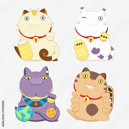 Valokuva 4 Animation Cartoon Cat Collection  in Lucky Cat Pose the Pokemon is Meowth or N