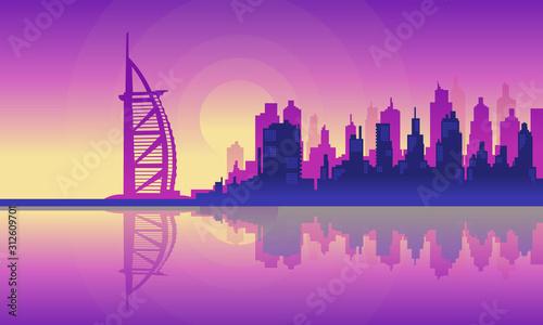 Photo Vector City Silhouette of Burj Al Arab Buildings