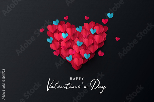 Happy Valentine's Day banner Tablou Canvas
