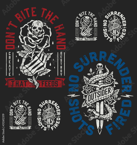 A set of two edgy tattoo style illustration graphic designs for t-shirts or othe Wallpaper Mural