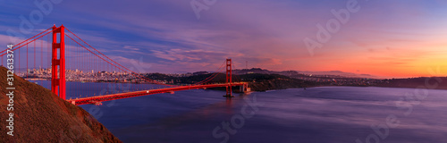 Panorama of the Golden Gate bridge with the Marin Headlands and San Francisco sk Canvas Print