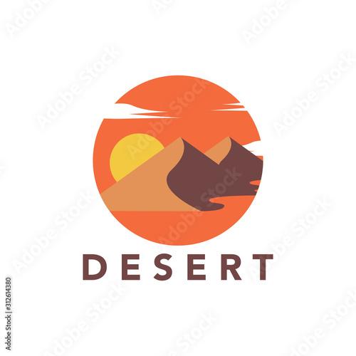 Photo Desert logo design vector stock template